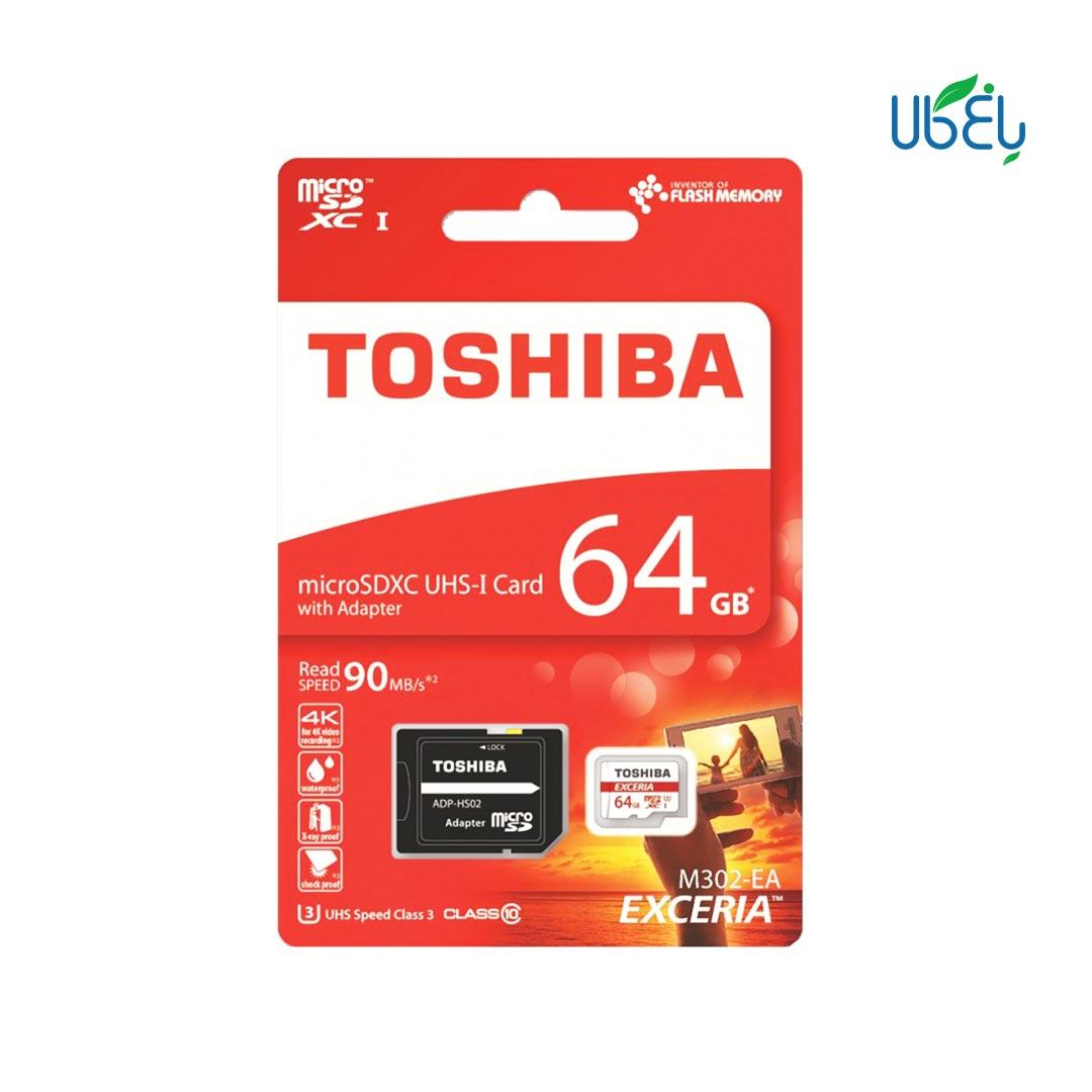 کارت حافظه توشیبا مدلmicroSDHC همراه آداپتور،ظرفیت ۶۴ گیگابایت
