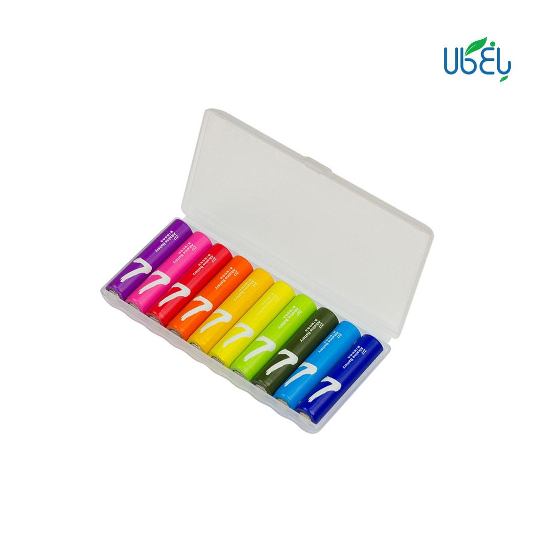 باتری نیم قلمی رنگین کمانی شیائومی بسته ده تایی-Xiaomi Rainbow Zi7 AAA 1.5 V Battery Pack Of 10